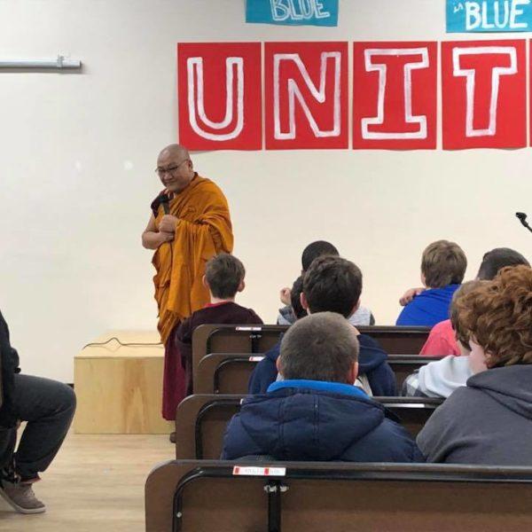 Geshela Phelgye speaking at Pride Prep in Spokane, Washington