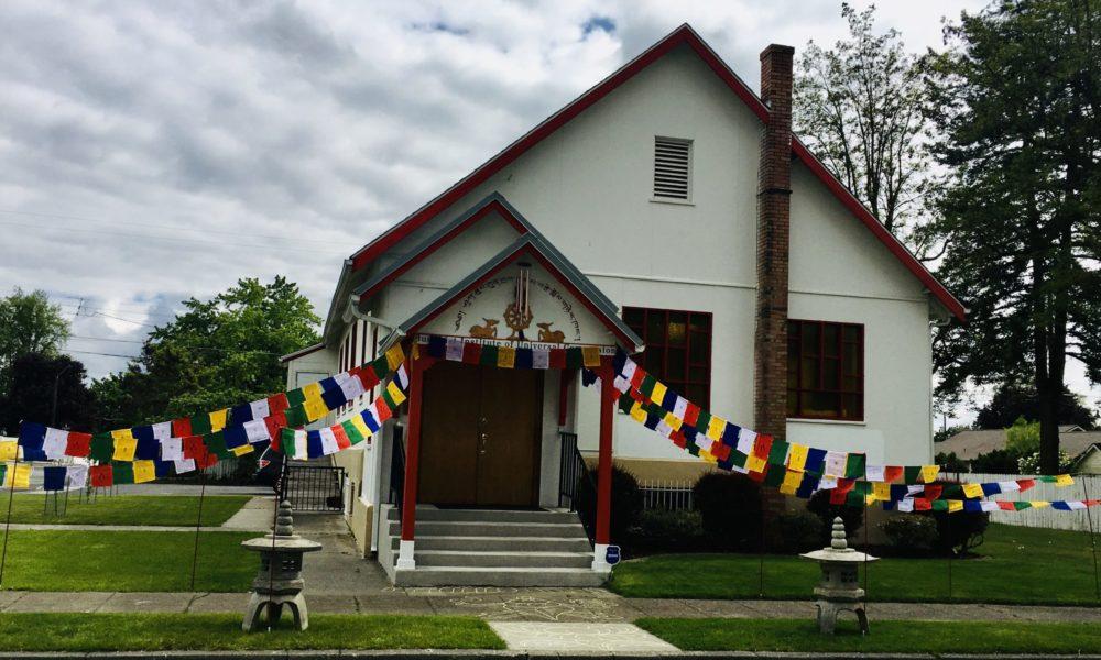 Buddhist Institute with Tibetan Prayer Flags on Buddhist Temple Spokane