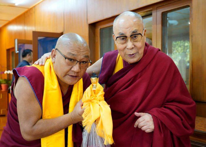 HH Dalia Lama with Geshe Thupten Phelgye